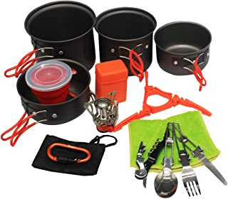 Bisgear 13pcs Camping Cookware Stove Carabiner Canister Stand Tripod Collapsible Cup Utensils Mess Kit Backpacking Cooking Gear Hiking Pot Pans Outdoors Cookset Bug Out Bag Wine Opener