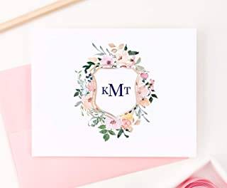 Floral Monogram Crest Stationery, Modern Floral Stationery, Floral Note Cards, Floral Stationery, Monogram Stationery for women, Your Choice of Colors and Quantity