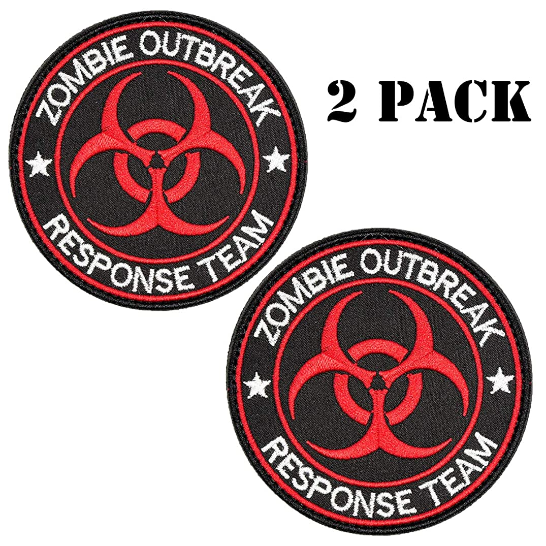 Zombie Outbreak Response Team Patch Biohazard Patches Resident Evil Morale Patch Embroidered Applique Hook&Loop Patch Tactical Patch (Black+Red-2PCS)