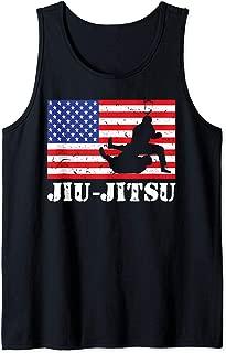 Distressed JiuJitsu Gi USA American Flag Vintage BJJ Fighter Tank Top