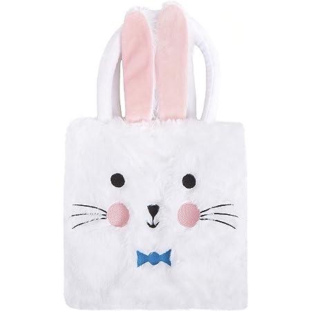 Houwsbaby Easter Bunny Handbag Plush Spring Egg Rabbit Tote Bag Eggs Hunting Bag Schoolbag for Girls Kids Seasonal Decorations Holiday Party Supplies, White,