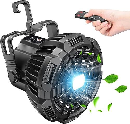 Tesoky Ventilateur Silencieux avec Lumière LED,7800mAh Ventilateur Portable Rechargeable Camping USB,Télécommande,Bat...