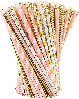 matrimoni compleanni accessori per feste anniversari frullati frullati Whaline 200 cannucce di carta pieghevole biodegradabili per succhi
