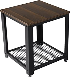 VASAGLE 2-Tier End Square-Frame Side Table with Metal Grate Shelf Dark Walnut