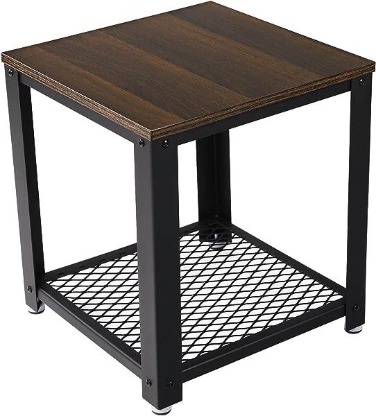 VASAGLE 2 Tier End Square Frame Side Table With Metal Grate Shelf Dark Walnut ULET41K