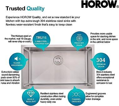 """HOROW 30-inch Kitchen Sink, 16 Gauge Undermount Single Bowl Stainless Steel Sink with Strainer & Bottom Grid, 30"""" x 1"""