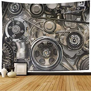 Tapestry Wall Hanging Drive Industry Generator Car Repair Spare Engine Accessories Auto Part Industrial Objects Garage Wall Decor Blanket for Bedroom Home Dorm 80x60 Inch