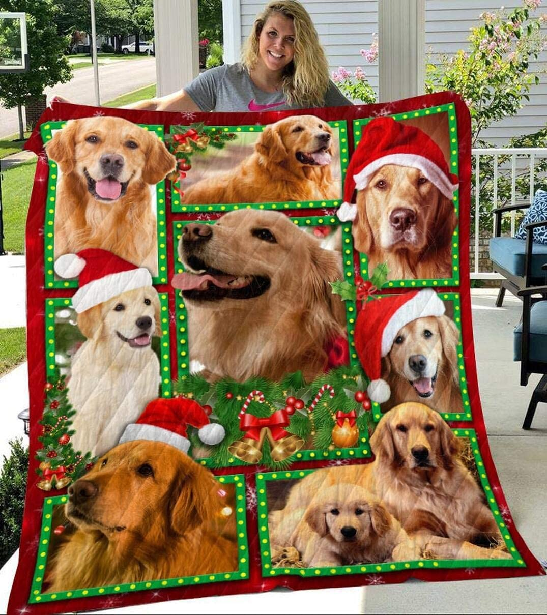 Personalized Golden Retriever Max 73% OFF Christmas B Quilt store