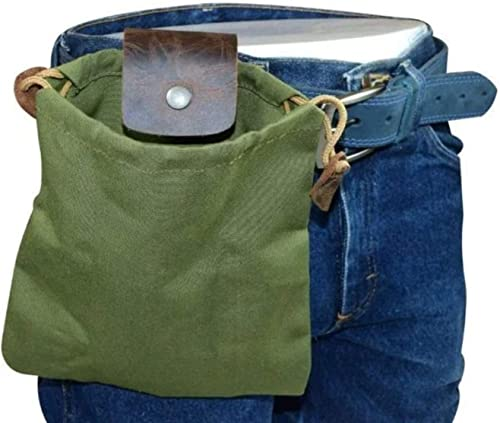 popular RiamxwR Outdoor Foraging Bag Pouch for Men Leather Waxed Canvas Belt Pouch Vintage Collapsible Foraging Pouch for Camping, Beach Combing, Gathering and sale Exploring Snaps On/Off Belt outlet online sale Pouch outlet online sale