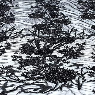 Lace Fabrics Design Pink/Black/Blue Heavy Handmade Beaded by Yard (Black)