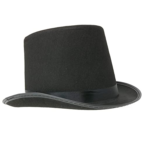 4d9a8128a01 Skeleteen Black Felt Top Hat - Costume Hats for Magician or Ringmaster  Costumes - 1 Piece