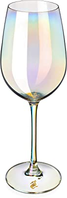 Dragon Glassware Wine Glasses, Stemmed Iridescent Lead-Free Crystal, 17.5-Ounce, Set of 2