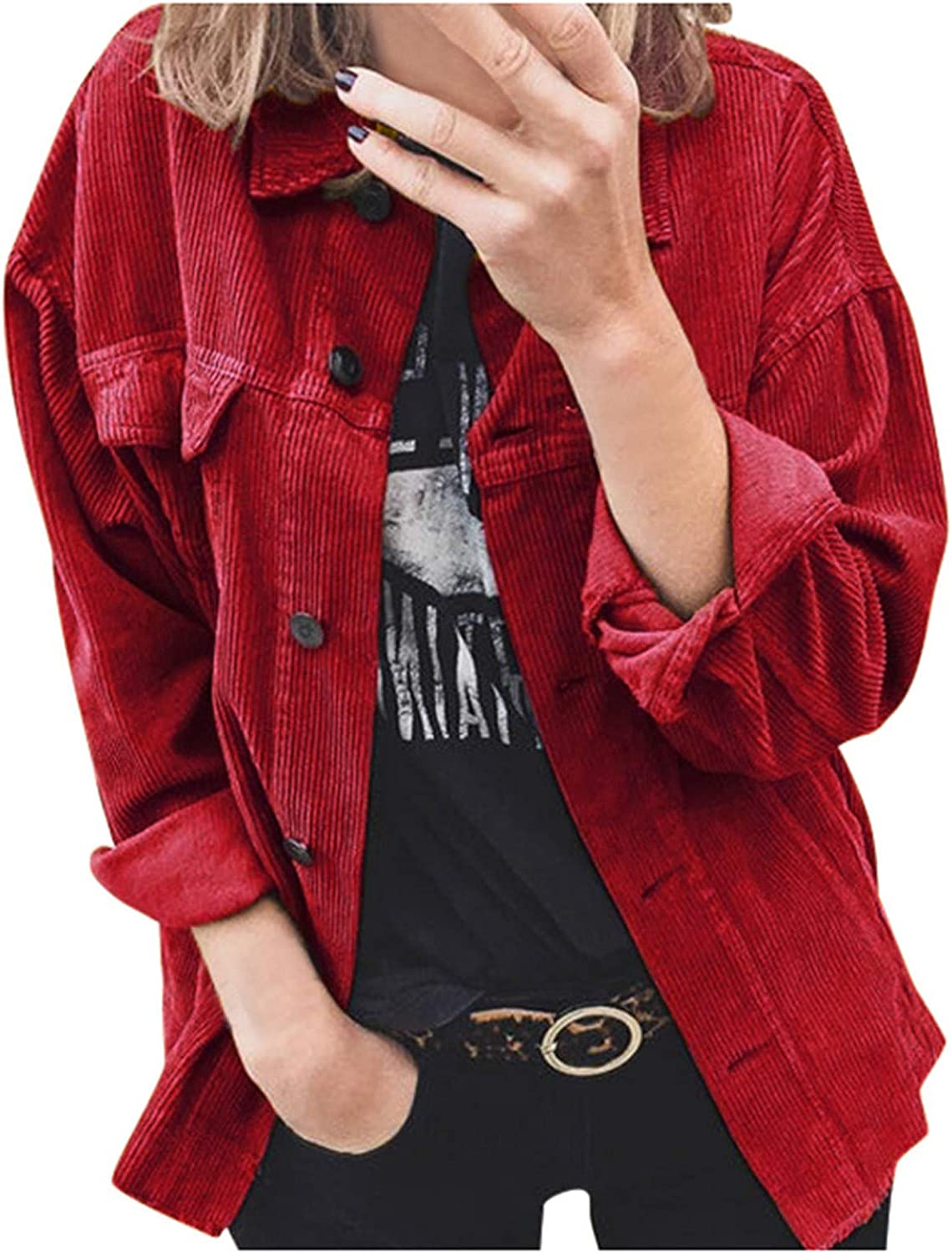 VEKDONE Womens Oversized Corduroy Jackets Casual Long Sleeve Loose Button Down Shirt Plus Size Jackets Tops