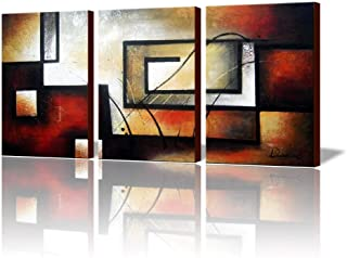 """ARTLAND Modern 100% Hand Painted Abstract Oil Painting on Canvas""""The Maze Of Memory"""" 3-Piece Gallery-Wrapped Framed Wall A..."""