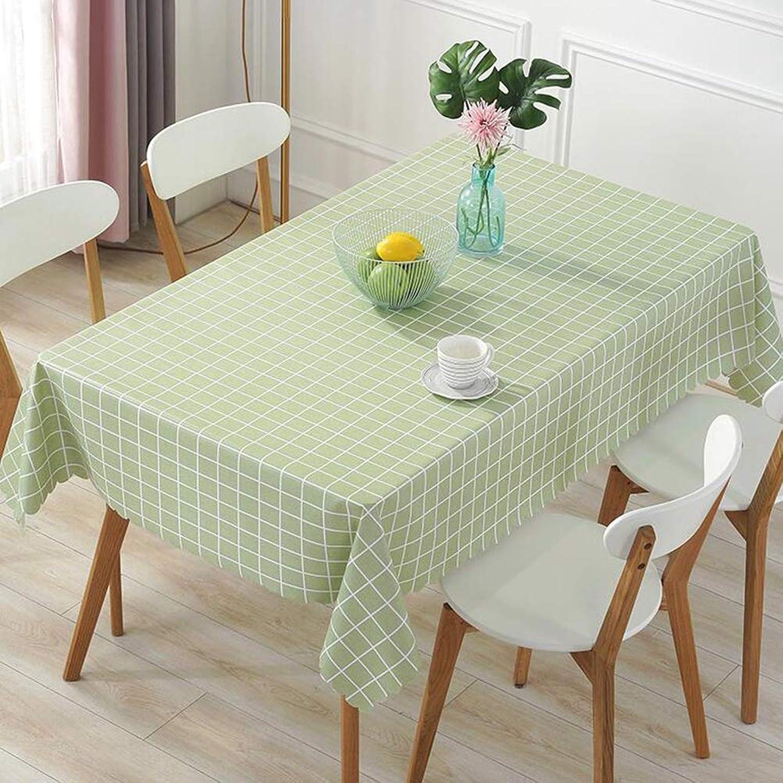 YQ QY Tischdecke Tischdecke Wischen Sauber Vinyl PVC Küche Restaurant Feld Buffet Baby Baden QY Tischdecke (Farbe   UNE Grille Grüne, gre   138  160cm)