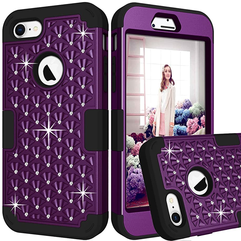 iPhone 8 Case, Dooge Studded Rhinestone Diamond Bling Sparkle Case 3in1 Shockproof Armor Defender Heavy Duty Protective Bumper Cover for Apple iPhone 8 (Purple)