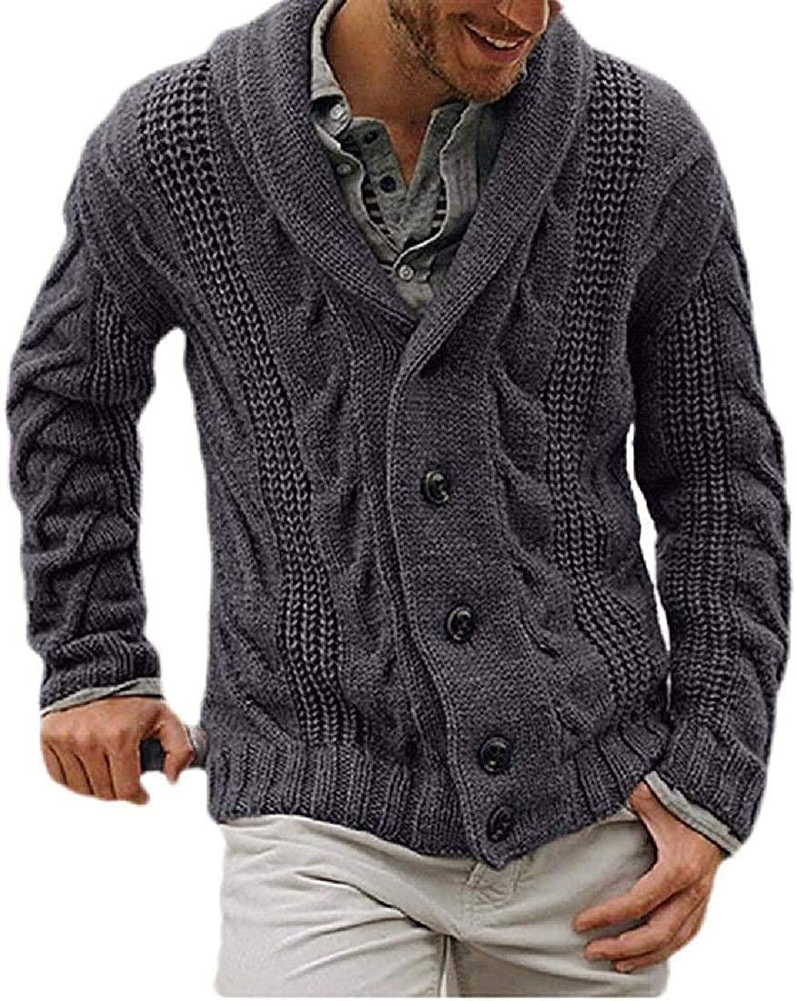 Men Shawl Collar Knitted Slim Buttons Thicken Sweate Sleeve Long Denver Mall security