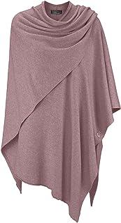 Sciarpa di poncho di cashmere - Capo di alta qualità da donna - Scollo e tunica XXL con maniche - Maglia lavorata a maglia...