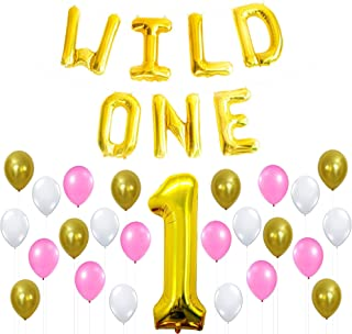 FUNZAR Wild ONE Birthday Decoration KIT - Pink White Gold Balloons Set,Perfect for 1st Bday Party Supplies, Girl or Boy, Number 1 Mylar, Latex Ballon