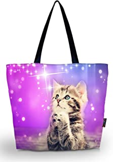 ICOLOR Reusable Shopping Tote Bags Eco Friendly Market Travel Sports School Beach Portable Shoppers Shoulder Bag Convenient Storage Handle Bags Large Grocery Bags Cat(GWD-037)