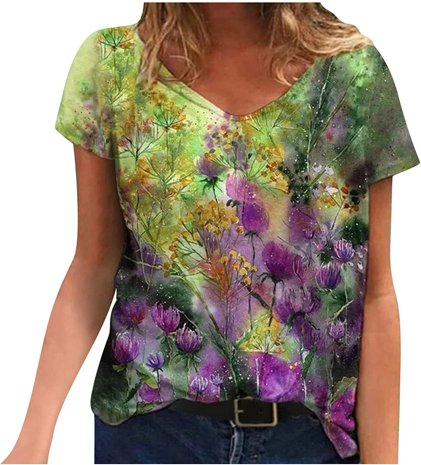 Graphic Tees In a popularity for Women Floral Prints safety V-Neck T- Sleeve Tops Short