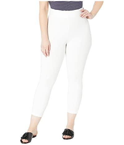 HUE Plus Size Wide Waistband Blackout Cotton Capri Leggings (White) Women