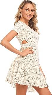 MQGIOEA Womenโ€™s Casual Polka Dot Short Sleeve Slim Fit Mini Skater Dress