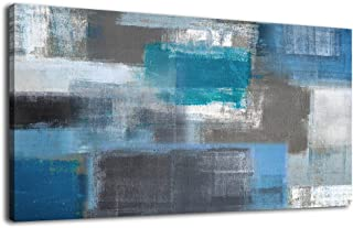arteWOODS Canvas Art Prints Abstract Painting Large Canvas Artwork Blue Panoramic Wall Art for Home Office Decoration Framed Ready to Hang 20