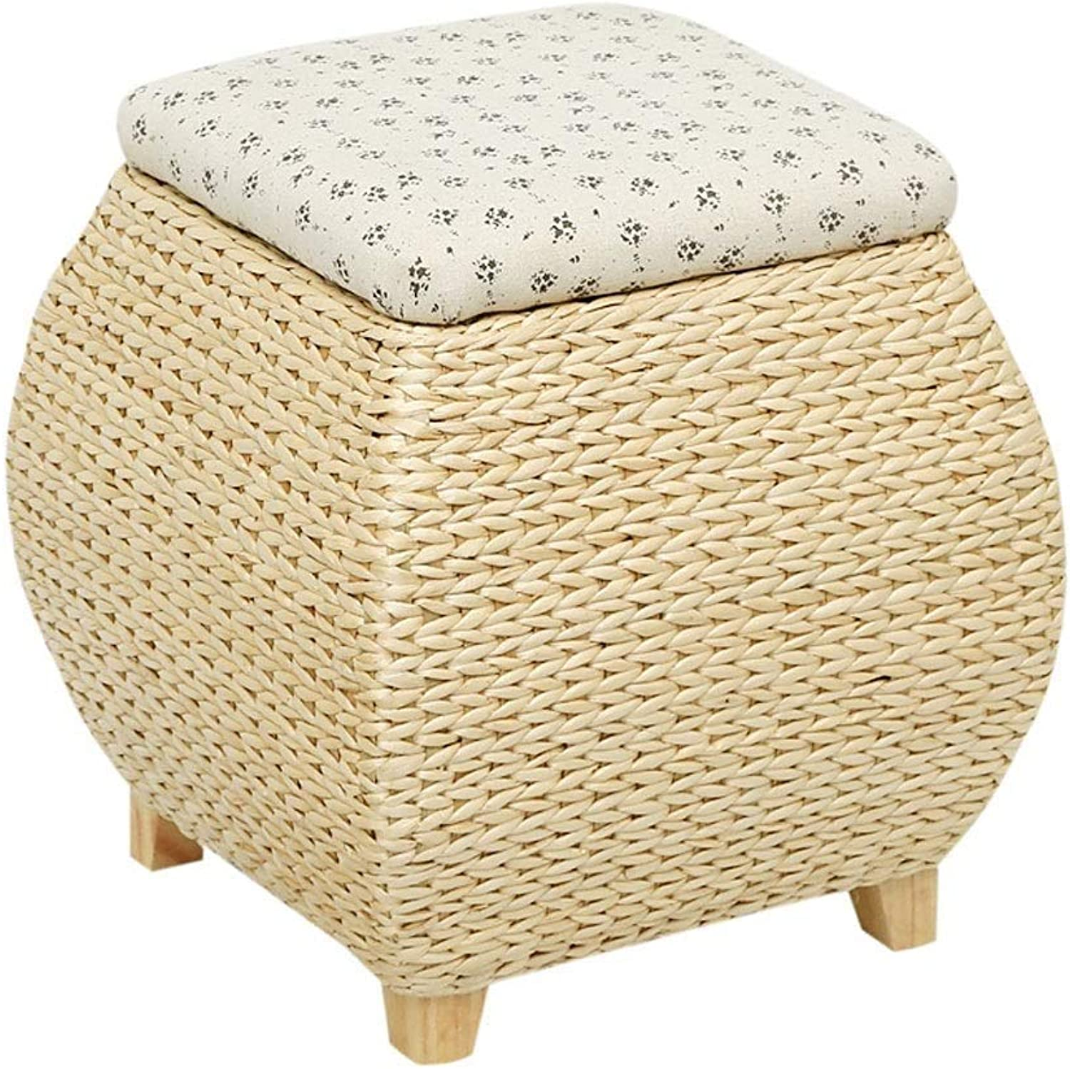 Change shoes Stool Garden Cover Storage Box Footstool Straw Bench Storage Rattan Wood Sofa Bench LEBAO (color   B)