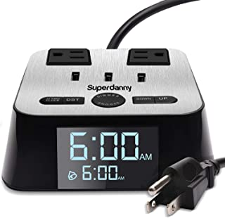 SUPERDANNY Alarm Clock Charger Power Strip Surge Protector UL Approval USB 3.2A Charging Station 2 Outlets 6.5ft Extension Cord for iPhone iPad Samsung Computer Laptop Home Travel Hotel Bedside