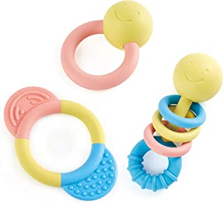 Hape Rattle & Teether Collection | 3-Piece Rattle & Teething Set for Babies, Soft Colors