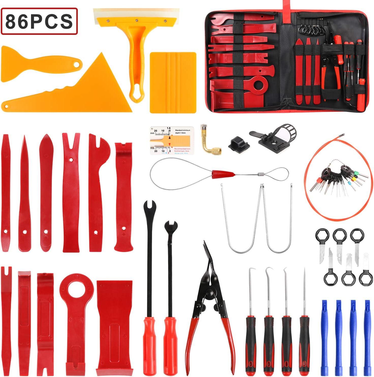 flintronic Herramientas Desmontar, 86PCS Nilón Desmontaje/Eliminación Kit para Desmontar el Salpicadero Radio, Audio Vehículo Interior Recubrimiento Desmontaje (Rojo)