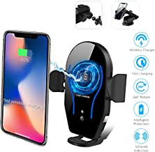 Cetoom Wireless Car Charger Mount, Auto-Clamping Air Vent Car Phone Holder, 10W / 7.5W Wireless Car Charging Mobile Phone Holder Compatible with iPhone 11 Pro Max/XS Max/XS/XR/8 Plus Galaxy S10/S9/S8