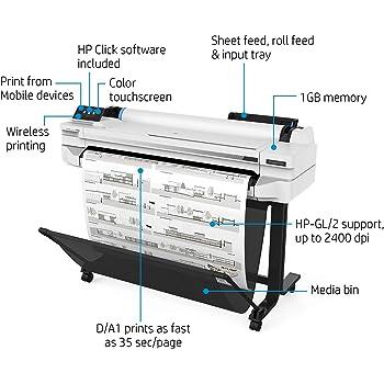 HP Designjet T525 - Impresora de Gran Formato (2400 x 1200 dpi, Inyección de Tinta térmica, HP-GL/2,HP-RTL, Negro, Cian, Magenta, Amarillo, 70 pph, 0.3 mm): Hp: Amazon.es: Informática