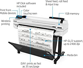 "HP DesignJet T525 Large Format Wireless Plotter Printer - 36"", with Mobile Printing (5ZY61A)"