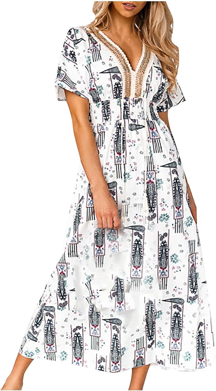 Womens Casual V-Neck Short Sleeve Splicing Printing Ankle-Length Dresses High Waist Floral Print Midi Long Dress
