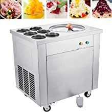 Happybuy Commercial Ice Roll Maker 740W Fried Yogurt Cream Machine Perfect for Bars/Cafes/Dessert Shops, 13.7