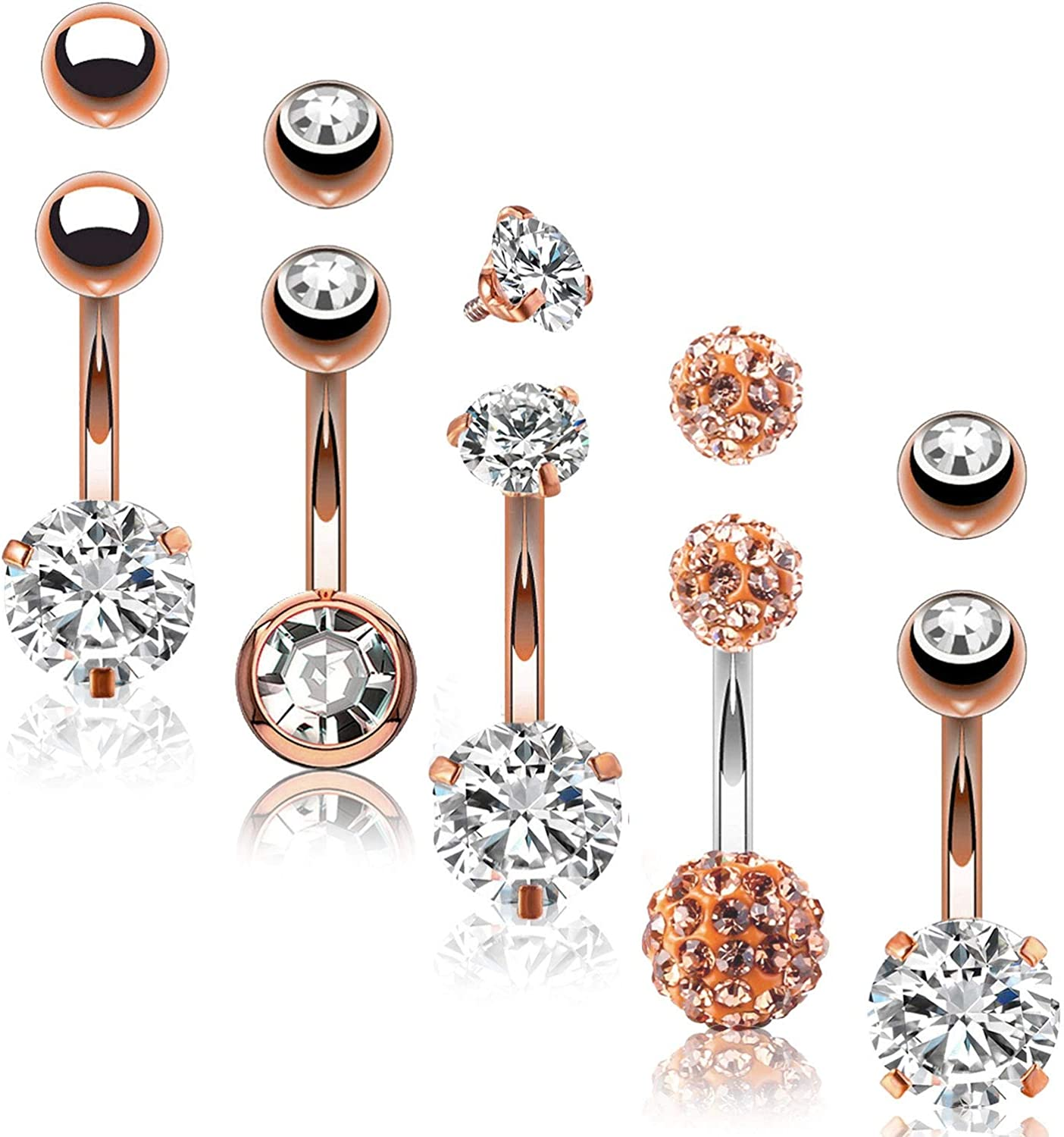BodyJ4You 5PC Belly Button Rings Max 72% OFF 14G Steel Girl In a popularity Wom CZ Stainless