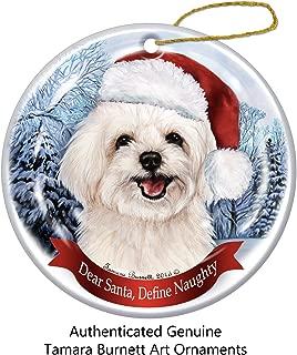 Holiday Pet Gifts Maltipoo Santa Hat Dog Porcelain Christmas Tree Ornament
