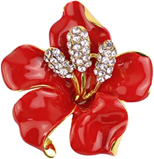 Merdia Brooch Pin for Women Flowers Brooch with Created Crystal Red 29.8g