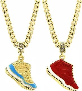 Mens Gold Plated Hip Hop Retro 11 Shoes Pendant 6mm 24