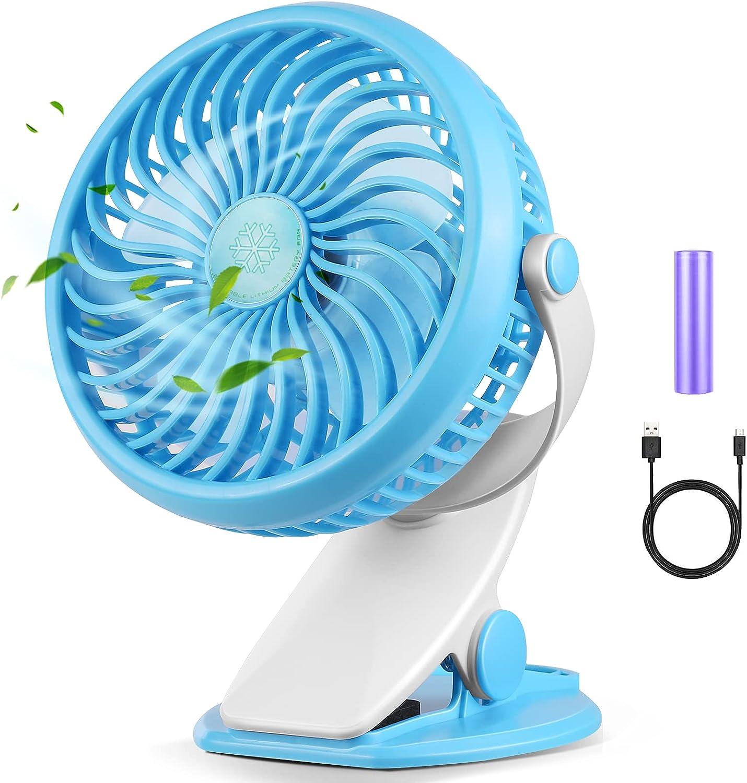 Akface Ventilador de Escritorio con Clip Silencioso y Potente, 3 Velocidades Rotación de 720°, Ventilador de Mesa USB Recargable Portátil para Cochecito de Bebé, Cama, Coche, Oficina, Camping