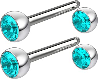 2pc 16g Crystal Surgical Steel Cartilage Earring Hypoallergenic Barbell Studs 8mm