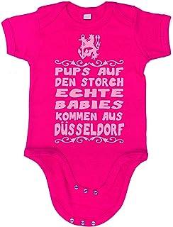 Artdiktat Baby Mädchen Organic Bodysuit - Strampler - Pups auf den Storch - Echte Babies kommen aus Düsseldorf