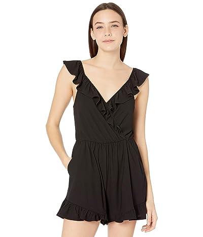 BCBGeneration Surplice Ruffle Sleeve Knit Romper B1SX5D06 (Black) Women
