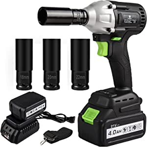 """LETTON 21V Impact Wrench Kit Cordless with 1/2"""" Chuck , Brushless Motor Max Torque 320N.m, 4.0Ah Li-ion Battery with 120 Min Fast Charger , 3 Sockets and Tool Box"""