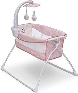 Delta Children Deluxe Activity Sleeper Bedside Bassinet - Folding Portable Crib for Newborns, Disney Minnie Mouse