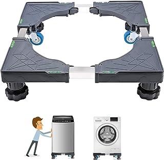 洗濯機 台 Kasimir 冷蔵庫置き台 キャスター付 かさ上げ 移動式 昇降可能 幅/奥行46.5~68cm 減音効果 防振パッド付き 灰色