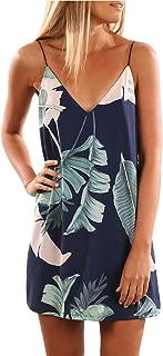 EVALESS Women Summer Spaghetti Strap V Neck Printed Casual Short Mini Dress(S-XL)