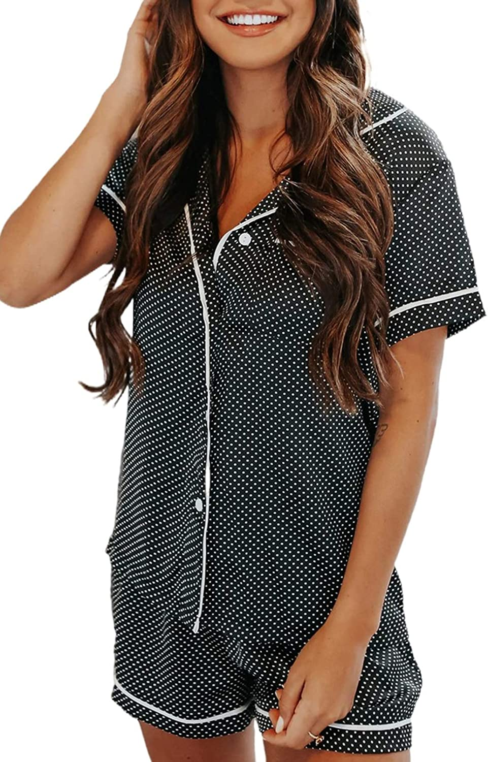 ROSKIKI Womens Casual 2 Pieces Short Sleeve Button Down Pajamas Sets Lounge Set (S-XXL)